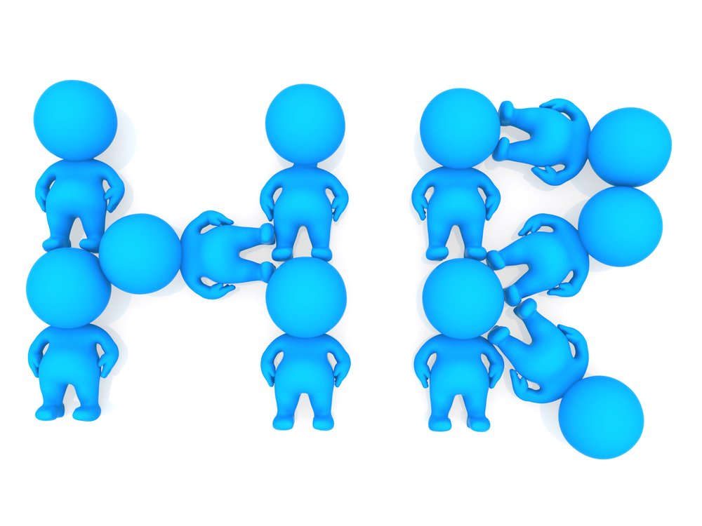 3D people forming a human resources sign - isolated-2